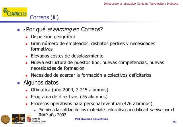 Plataformas Educativas Introducción al eLearning. Contexto Tecnológico y Didáctico 93 Correos (iii)  ¿Por qué eLearning e...