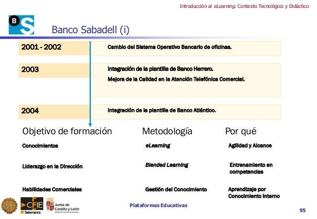 Plataformas Educativas Introducción al eLearning. Contexto Tecnológico y Didáctico 95 Banco Sabadell (i) 2001 - 2002 Cambi...