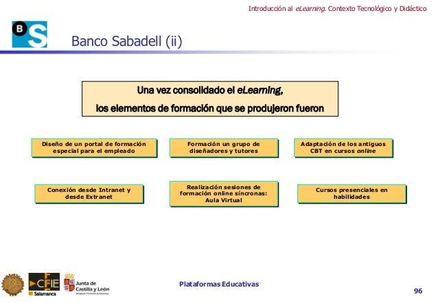 Plataformas Educativas Introducción al eLearning. Contexto Tecnológico y Didáctico 96 Banco Sabadell (ii) Una vez consolid...