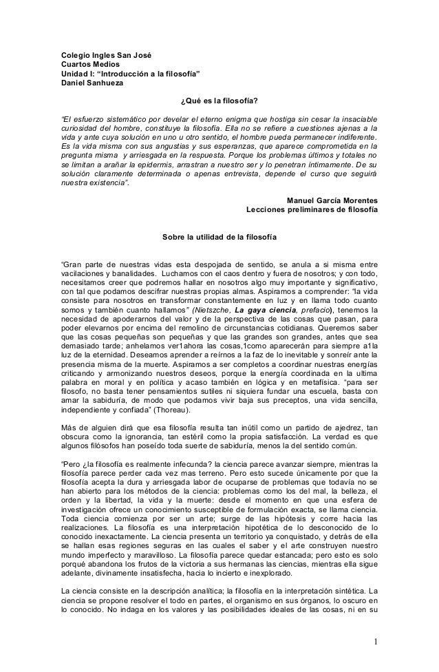 """Colegio Ingles San José Cuartos Medios Unidad I: """"Introducción a la filosofía"""" Daniel Sanhueza ¿Qué es la filosofía? """"El e..."""