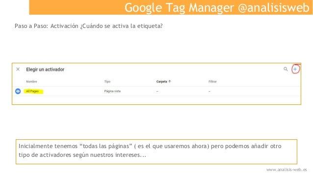 """Google Tag Manager @analisisweb Paso a Paso: Activación ¿Cuándo se activa la etiqueta? Inicialmente tenemos """"todas las pág..."""