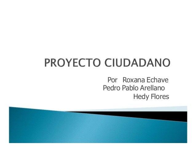 Por Roxana EchavePedro Pablo Arellano         Hedy Flores