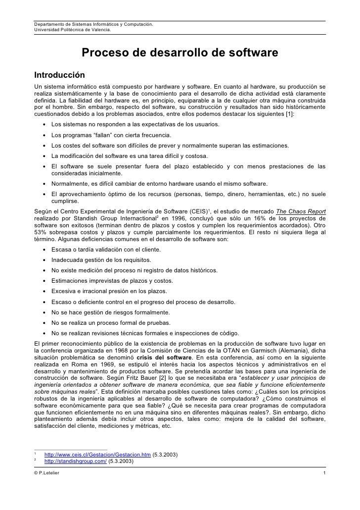 Departamento de Sistemas Informáticos y Computación.Universidad Politécnica de Valencia.                    Proceso de des...