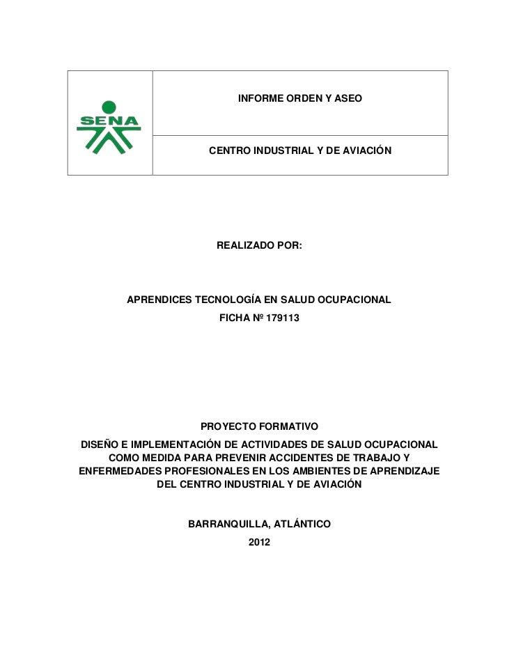 informe orden y aseo centro industrial y de aviacin