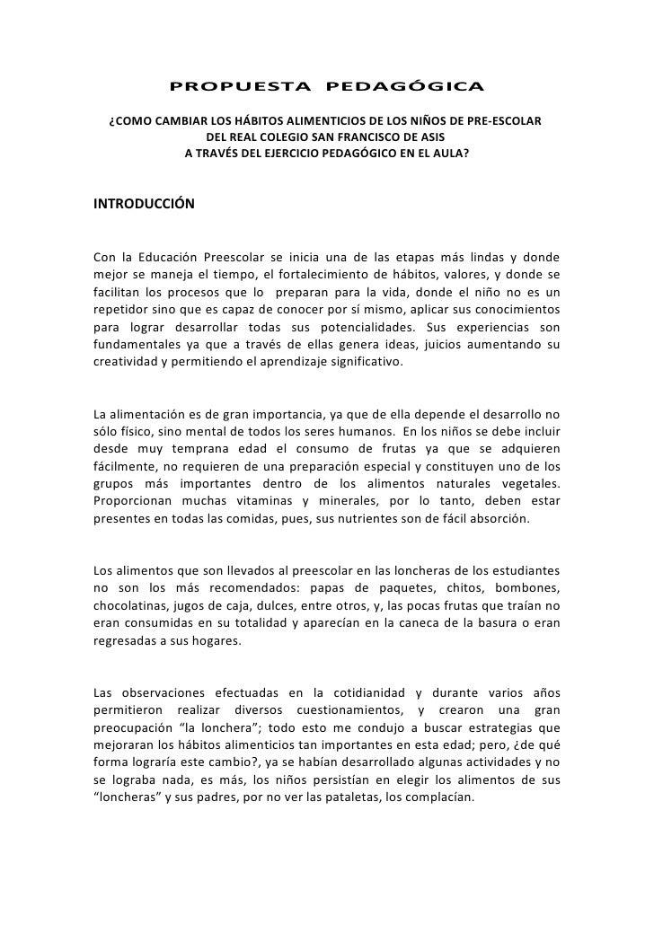 Introduccion propuesta pedag gica for Propuesta para una cantina escolar