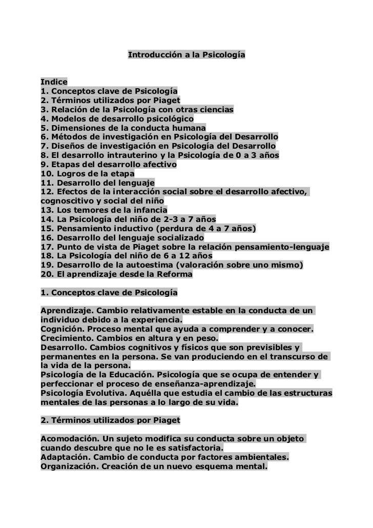 Introducción a la Psicología<br />Indice<br />1. Conceptos clave de Psicología<br />2. Términos utilizados por Piaget<br /...