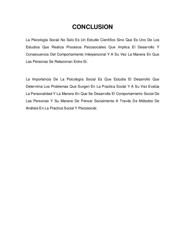 Introduccion y conclusion de psicologia social for Conclusion de un vivero