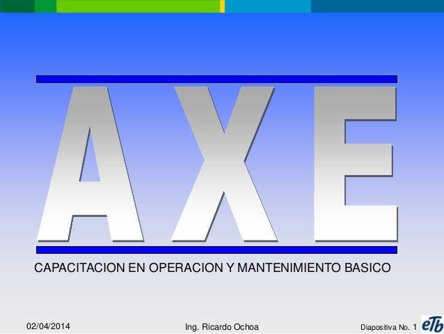02/04/2014 Ing. Ricardo Ochoa Diapositiva No. 1 CAPACITACION EN OPERACION Y MANTENIMIENTO BASICO