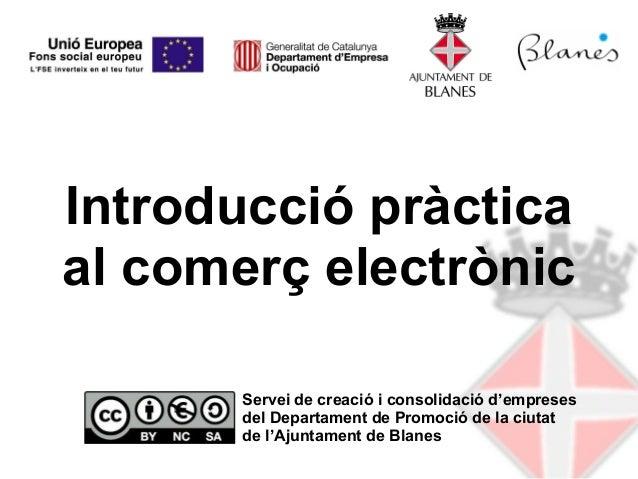Introducció pràcticaal comerç electrònic       Servei de creació i consolidació d'empreses       del Departament de Promoc...