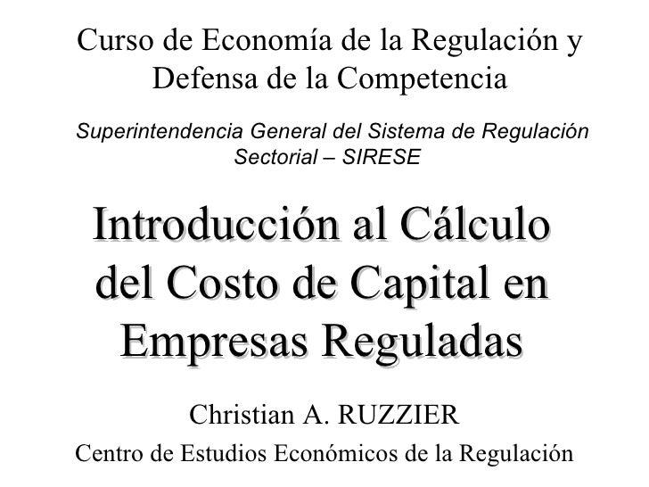 Introducción al Cálculo del Costo de Capital en Empresas Reguladas Christian A. RUZZIER Centro de Estudios Económicos de l...