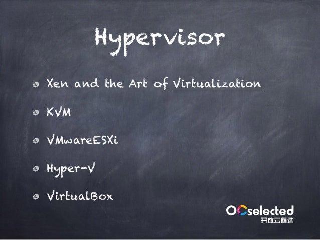 Hypervisor Xen and the Art of Virtualization KVM VMwareESXi Hyper-V VirtualBox