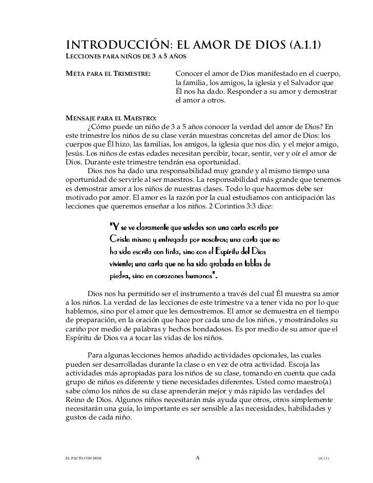 INTRODUCCIÓN: EL AMOR DE DIOS (A.1.1)LECCIONES PARA NIÑOS DE 3 A 5 AÑOSMETA PARA EL TRIMESTRE:                   Conocer e...