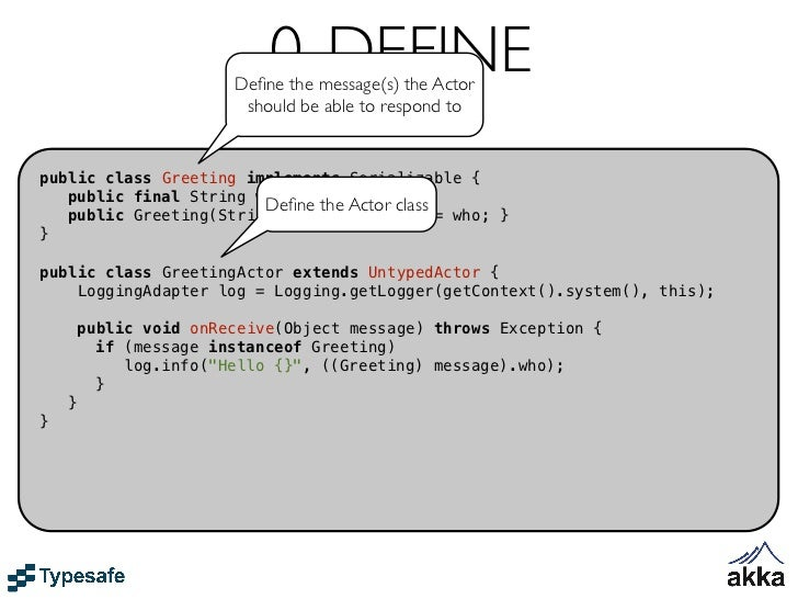 CREATE Actorpublic class Greeting implements Serializable {   public final String who;   public Greeting(String who) { thi...