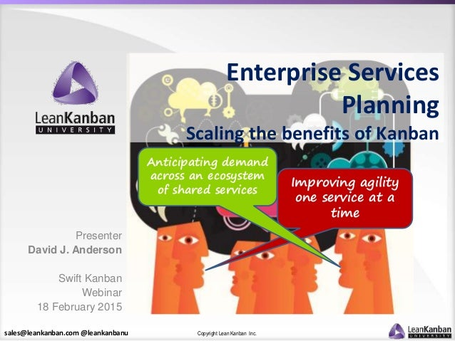 sales@leankanban.com @leankanbanu Copyright Lean Kanban Inc. Improving agility one service at a time Anticipating demand a...