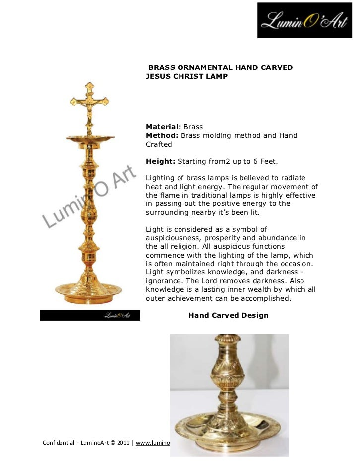 BRASS ORNAMENTAL HAND CARVED                                   JESUS CHRIST LAMP                                   Materia...