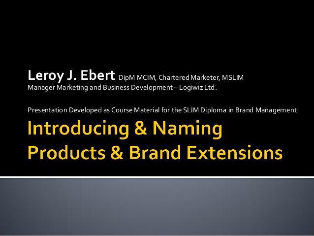 Leroy J. Ebert DipM MCIM,Chartered Marketer, MSLIM Manager Marketing and Business Development – Logiwiz Ltd. Presentation ...