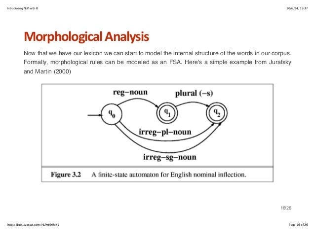 Introducing NLP with R 10/6/14, 19:37  Morphological+Analysis  Now that we have our lexicon we can start to model the inte...