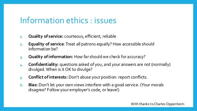 Information Ethics Introducing Our Course
