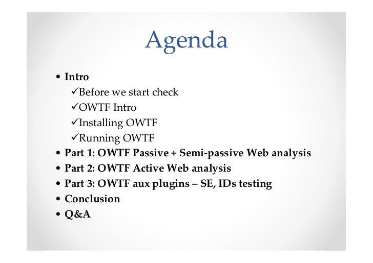 Introducing OWASP OWTF Workshop BruCon 2012 Slide 2