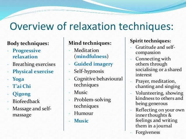 Introducing relaxation: a study of relaxation techniques