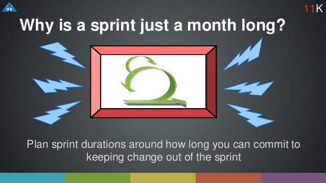 Why is a sprint just a month long? Plan sprint durations around how long you can commit to keeping change out of the sprin...