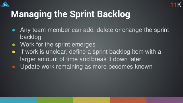 Managing the Sprint Backlog ● Any team member can add, delete or change the sprint backlog ● Work for the sprint emerges ●...