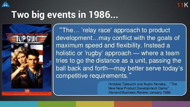 """Two big events in 1986... """"The… 'relay race' approach to product development…may conflict with the goals of maximum speed ..."""