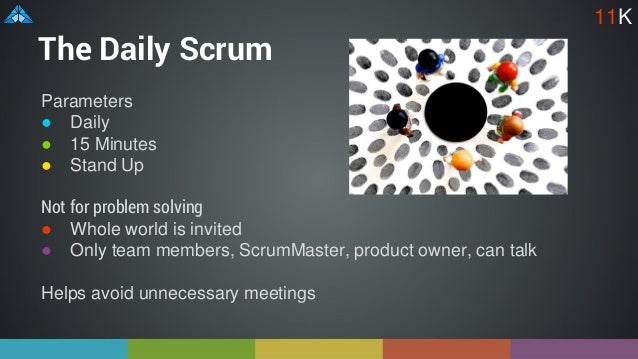 The Daily Scrum Parameters ● Daily ● 15 Minutes ● Stand Up Not for problem solving ● Whole world is invited ● Only team me...
