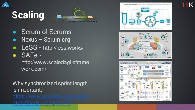 Scaling ● Scrum of Scrums ● Nexus – Scrum.org ● LeSS - http://less.works/ ● SAFe - http://www.scaledagileframe work.com/ W...