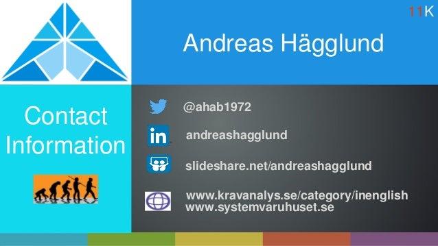 Andreas Hägglund Contact Information slideshare.net/andreashagglund www.kravanalys.se/category/inenglish www.systemvaruhus...