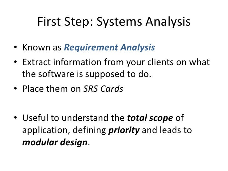 system analysis and development sample Phase 1: systems planning introduction project initiation a new system examples are: and the operation of the system after development 13 payback analysis: • it is an estimation of time (number of years) that will take.