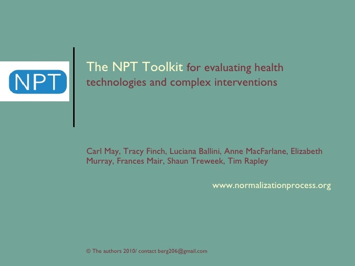 npt the npt toolkit for evaluating health technologies and complex interventions carl may, tracy finch, lucianna ballini, ...
