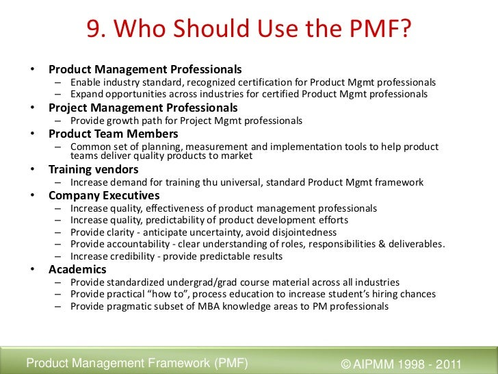 Introducing the Product Mgmt Framework (PMF)