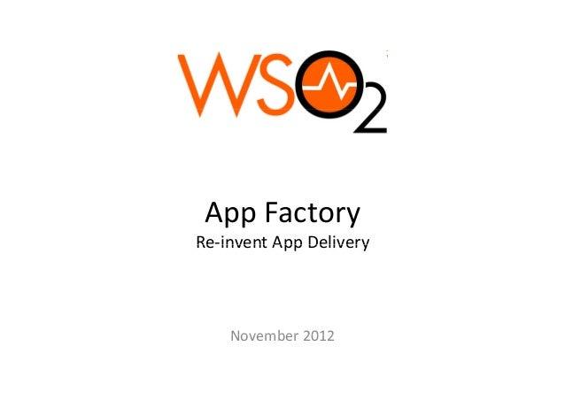 AppFactoryRe inventAppDeliveryRe‐invent App Delivery    November2012    November 2012