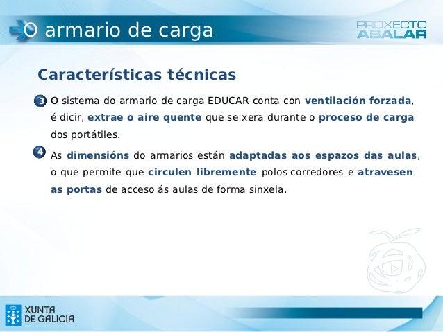 O armario de carga Características técnicas  O sistema do armario de carga EDUCAR conta con ventilación forzada, 3   é di...