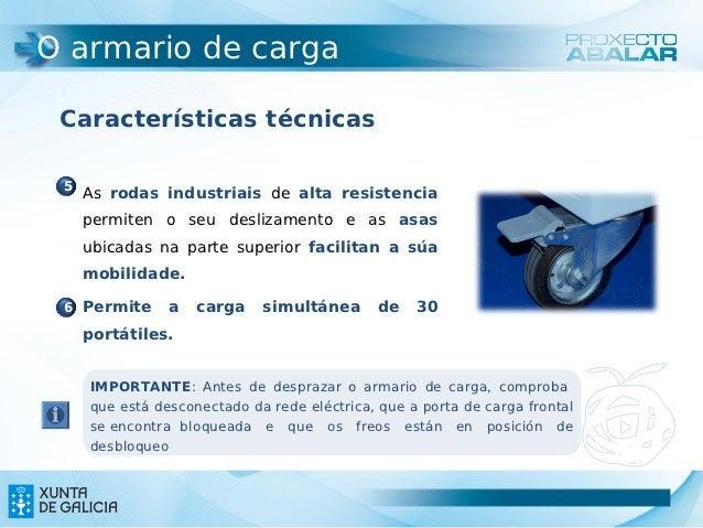 O armario de carga Características técnicas 5  As rodas industriais de alta resistencia   permiten o seu deslizamento e a...