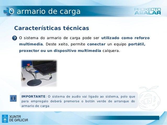 O armario de carga Características técnicas 7 O sistema do armario de carga pode ser utilizado como reforzo   multimedia. ...
