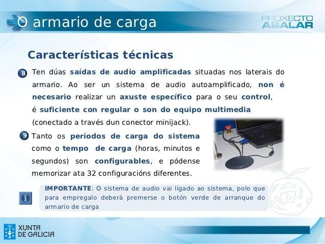 O armario de carga Características técnicas8 Ten dúas saídas de audio amplificadas situadas nos laterais do  armario. Ao s...