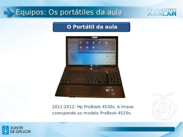 Equipos: Os portátiles da aula                O Portátil da aula          2011-2012: Hp ProBook 4530s. A imaxe          co...