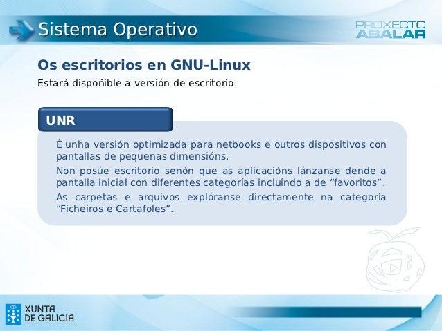 Sistema OperativoOs escritorios en GNU-LinuxEstará dispoñible a versión de escritorio: UNR   É unha versión optimizada par...