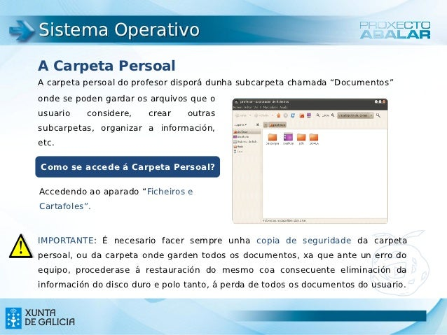 """Sistema OperativoA Carpeta PersoalA carpeta persoal do profesor disporá dunha subcarpeta chamada """"Documentos""""onde se poden..."""