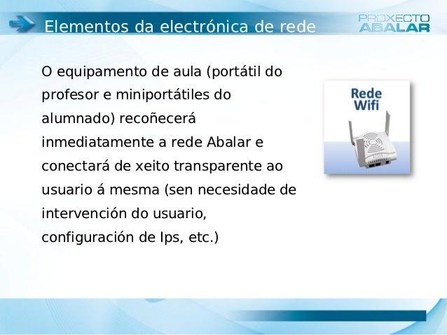 Elementos da electrónica de redeO equipamento de aula (portátil doprofesor e miniportátiles doalumnado) recoñeceráinmediat...