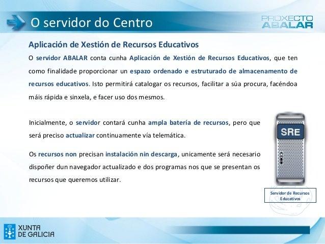 O servidor do CentroAplicación de Xestión de Recursos EducativosO servidor ABALAR conta cunha Aplicación de Xestión de Rec...