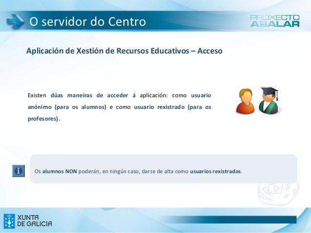 O servidor do CentroAplicación de Xestión de Recursos Educativos – AccesoExisten dúas maneiras de acceder á aplicación: co...