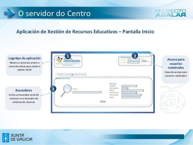 O servidor do Centro       Aplicación de Xestión de Recursos Educativos – Pantalla InicioLogotipo da aplicación           ...