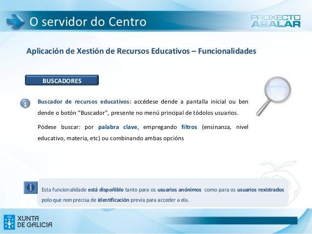 O servidor do CentroAplicación de Xestión de Recursos Educativos – Funcionalidades      BUSCADORES1    Buscador de recurso...