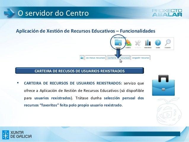 O servidor do CentroAplicación de Xestión de Recursos Educativos – Funcionalidades          CARTEIRA DE RECUSOS DE USUARIO...