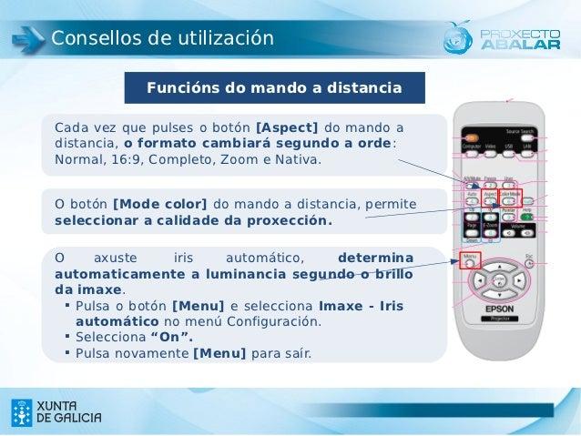 Consellos de utilización            Funcións do mando a distanciaCada vez que pulses o botón [Aspect] do mando adistancia,...