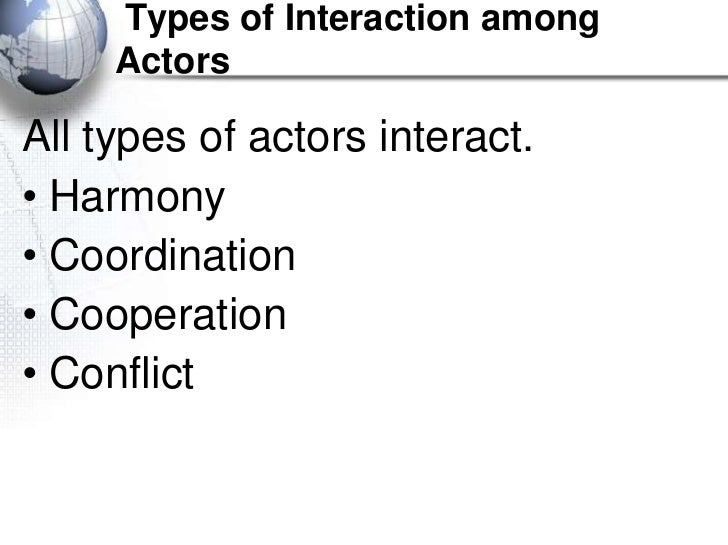 Types of Interaction among     ActorsAll types of actors interact.• Harmony• Coordination• Cooperation• Conflict