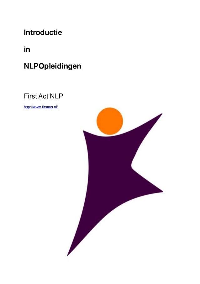 IntroductieinNLPOpleidingenFirst Act NLP